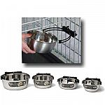 This stainless steel Pet bowl is ideal for any pet who spends time in the crate. Bowl has a patented design. Attach bracket to the crate and snap in the bowl. Bracket helps to keep the food and water from spilling. Available in a variety of sizes.