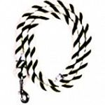Classic cotton horse lead in 4 different color combinations. Nickel plated snap. Wire clamps on both ends.  6.5 feet.