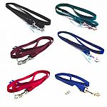 5/8 inch wide (strong) nylon dog lead with swivel snap. Made from premium quality nylon. One end has a stitched hand loop and the opposite end has an extra-heavy snap for added strength. Multiple lengths and colors.