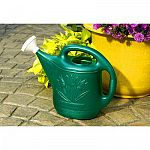Great for watering plants and flowers. This decorative watering can holds a full 2 gallons and may be used indoors and outdoors. Looks nice when stored. Green color is contemporary. Mouth designed for gentle sprinkling. Made of Lightweight plastic.