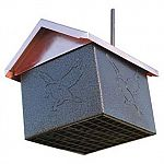 Perfect for year round feeding, the EZ Fill Bottom Suet Feeder is constructed of metal with copper plated roof top that is attractive yet practical. Hold 3 cakes or 1 brick of suet. It has a feed level indicator that comes out of the roof to let you know