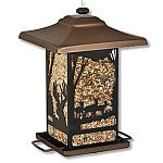 A beautiful buck and doe lantern type birdfeeder that attracts a variety of wild birds to your yard. U-shaped perches adjust to allow you to attract different sized birds and the patented Sure-Lock cap system keeps the lid secure