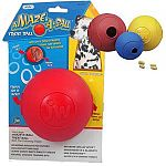 You put the treat in one side of the ball and your pet has to nudge the ball in order for it to come out the other side. Your pup will show his Einstein tendencies while he works to get the beloved treat out of these amazing rubber dog ball toys.
