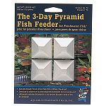 Great for weekends. Slow-release pellets for continuous fish feeding. Patented, pyramid-shaped feeder block contains nutritious, slow-release pellets. Each pellet is a uniformly balanced meal. One pyramid will feed 15 to 20 average-sized fish