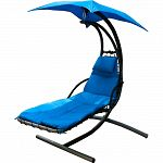 Steel frame hanging lounger chair with padded cushion and pillow. Matching color sun shade. Powder coated steel stand, outdoor plated hardware. Weight capacity: 270 lbs