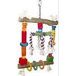 Multicolored design Dozens of small wooden balls, rope, and plastic rings Durable construction for extended uses Easily clips to the top of the bird cage