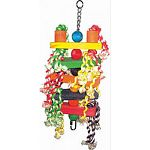 Multicolored design with ropes, wood balls, and blocks Durable construction for extended uses Easily clips to the top of the bird cage