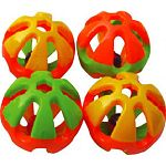 Attractive blend of color Double thick round rattle Each rattle has a movable bell inside