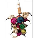 Multicolored java wood toy with sisal rope and round wicker balls Durable construction for extended uses Easily clips to the top of the bird cage
