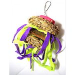 Tickles bird toys feature natural twisted grass fiber rings Hardwood slices and coconut husk slices to pick and pull Bright; soft neon felt strips entice further foraging fun for hours of playtime