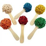 Colored 3 cm rattan balls attached to a popsicle stick Fill it with crinkle paper or almonds Great for foraging!