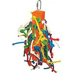 Multicolored design with shreddable sisal ropes Large center wooden block with ropes come out all over Durable construction for extended uses Easily clips to the top of the bird cage