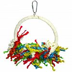 Multicolored round design with shreddable sisal ropes Is also good for swinging or perching Durable construction for extended uses Easily clips to the top of the bird cage