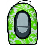 Faux leather bottom comes partially up either side, with four rubber feet on the bottom so it doesn t skid Entire front opens on three sides with a double zipper Mesh screen insert on front and back allows air to circulate freely, as well as let your bird