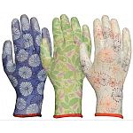 Lightweight 13-gauge nylon knit with breathable polyurethane palm coat. 3 assorted colors with attractive, original patterns. Protects hands while allowing air to circulate, keeping hands cool. Washable and durable.