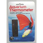 An easy to read, accurate, safe and non-toxic thermometer. It mounts vertically on the outside of your aquarium for easy viewing of temperatures. It can be repositioned too.   Small version.