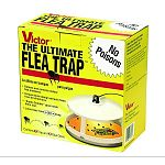 If fleas have infested your home, get rid of them using the Victor Poison-Free Ultimate Flea Trap. This trap features a 7.5 inch diameter base that holds a sticky mat. A light bulb above the mat emits light that attracts fleas.