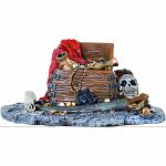Handcrafted resin, realistic looking abandoned pirate treasure Provides interest, hides and shelter for fish Safe in fresh and saltwater Designed for aquariums, terrariums and most animal habitats Silver tones will illuminate under light