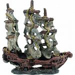 Handcrafted resin, realistic looking abandoned mystery pirate ship Provides interest, hides and shelter for fish Safe in fresh and saltwater Designed for aquariums, terrariums and most animal habitats Silver tones will illuminate under light