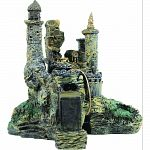 Handcrafted resin, realistic looking abandoned fortress Provides interest, hides and shelter for fish Safe in fresh and saltwater Designed for aquariums, terrariums and most animal habitats Silver tones will illuminate under light