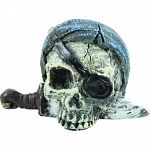 Handcrafted resin, realistic looking pirate skulls Provides interest, hides and shelter for fish Safe in fresh and saltwater Designed for aquariums, terrariums and most animal habitats Silver tones will illuminate under light