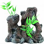 Handcrafted resin, realistic looking old wood stump Provides interest, hides and shelter for fish Safe in fresh and saltwater Designed for aquariums, terrariums and most animal habitats Silver tones will illuminate under light