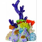 Handcrafted resin, realistic looking pacific reef coral Provides interest, hides and shelter for fish Safe in fresh and saltwater Designed for aquariums, terrariums and most animal habitats Silver tones will illuminate under light