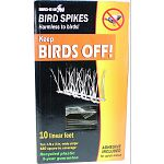 Keep birds off ledges, sills, gutters, air conditioners and so much more! Harmless to birds - birds see the spikes and stay away Tough, high-impact plastic Easy installation - adhesive included Uv protected Made in the usa