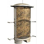 Beautiful elliptical design with decorative satin nickel finish and locking metal roof. Integrated moving cage closes all four any seed ports with pressure from squirrels on the roof. Squirrels can t get the seed- feed birds, not squirrels! Wide-mouth d