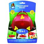 One feeder, three ways: hanging feeder, window feeder, or planter feeder. Includes hanger, window mount and planter stake. Large opening for easy filling. Base disassembles for easy cleaning. Bring more birds and more joy to your yard.