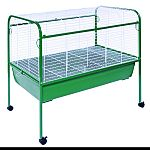 Great for rabbits & guinea pigs and can also be used as a breeder cage for puppies, kittens, and other animals. Includes: 6.5 inches deep plastic pan, removable bottom grill, 2 large doors, tubular steel stand with easy-rolling casters. The heavy-duty pla