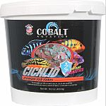 Formulated for specific diet requirements of cichlids Nutritionally balanced for consistent growth, palatability and beautiful color. Enhanced with probiotics and cobalt blue flakes triple vitamin dose and immunostimulants Will not cloud water.