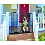 Built to withstand elements in every climate - year round Rust proof and weather resistant - durability at its finest Designed to give your pets their own space and keep them safe while outdoors Pressure mounted gate is perfect for top and bottom of decks