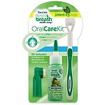Kit includes mint gel, quickfinger brush and tripleflex toothbrush. Helps remove plaque and tartar and freshen pets breath, cleaning all surfaces in less time.