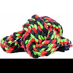 Rope fibers floss dogs teeth as they chew and play Cottenblend color materials A ball shape with rope ends great for tugging