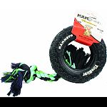 Made real-tire-tough with specially formulated natural rubber with two-ply nylon and knotted tug rope Interactive dog toy is perfect for playtime tossing, sugging and moderate chewing Durable pet toy that dogs of all ages enjoy Can also be very effectiv