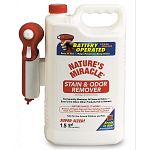 Nature's Miracle Power Sprayer has 1.5 gallons of Nature's Miracle in a new battery powered spray container for very simple, fast and even application, particularly on large areas. Safe for use around children and pets.