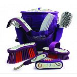 Includes: matching grooming tote, body brush, dandy brush, face brush, mane and tail brush, hoof pick, sweat scrapper, mane c Soft grip brushes and ergonomic tools. Lightweight, comfortable and easy to use.