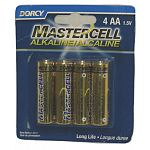 Mastercell Alkaline AA Batteries come in a four pack and are for use in any electronic device that uses AA size batteries. These Mercury and Cadmium Free Alkaline Manganese batteries have a long life and a shelf life of 5 years.