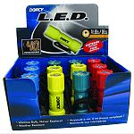 Display contains: 12 each 9 led flashlights in a display Each flashlight contains 9 super bright 5mm leds Flashlights have a tail cap push button switch O-rings protect against moisture Comes complete with nylon lanyard and 3 aaa cell batteries Durable in