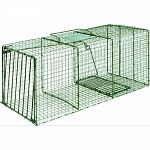 Ideal for live trapping of raccoons, foxes, armadillos and more All steel rod gravity single drop door with bait protected cage mesh Constructed to provide for durability and no harm to animals