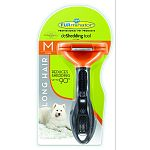 For long hair dogs 21 to 50 pounds. 2.65 inch deshedding edge designed for coats longer than 2 inches. Reduces shedding up to 90 percent. Stainless steel edge reaches beneath topcoat to gently remove undercoat and loose hair. Furejector button cleans and