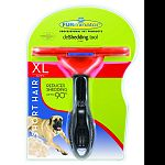 For short hair dogs over 90 pounds. 5 inch deshedding edge designed for coats shorter than 2 inches. Reduces shedding up to 90 percent. Stainless steel edge reaches beneath topcoat to gently remove undercoat and loose hair. Furejector button cleans and re