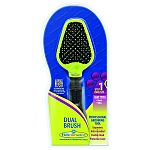 Helps remove mats, tangles and loose hair. Designed to follow the natural contours of pet s head and body. Features a pin brush on one side and bristle brush on the other. Pin brush works on long coated dogs. Nylon bristle brush is an excellent all round