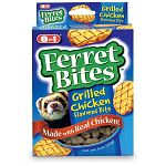 Ferretbites Chicken Gourmet Ferret Treats a made to be soft and chewy with highly nutritious ingredients and have the great taste of grilled chicken. These tasty may served as a special treat or snack. Contains essential fatty acids for a superior coat.