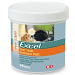 Excel Tear Clear Pads are a safe non-irritating tear stain remover that can be used on dogs, cats and small animals. remove unsightly stains and odor from hair and restore full luster to area beneath your pet's eyes. 90 ct.