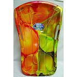 Racer-style sled with a tie-dye pattern Large, open handles Forward heel-lock design for secure rider position Easy-to-spot bright color for safety Made in the usa