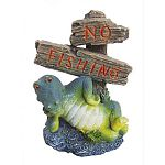 Lounging turtle comedic character reminds aquarium spectators that fishing is not allowed! Made of durable resin.