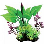 Realistic grouping of plants with natural colors and textures. Can be used individually or placed with others to create dense, aquatic jungle. Durable plastic foliage is easy to place and maintain. Heavy, dark, ceramic anchorbase keeps arrangement in plac