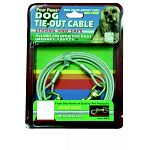 Four Paws tieout cable made from rustproof vinyl coated aircraft cable. Brightly colored for red safety. Cable is 1/8 inch diameter. For dogs under 50 pounds.
